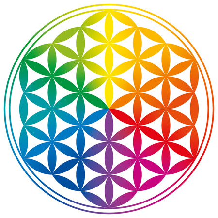 Flower of Life with rainbow color gradients. Circles are forming a flower-like pattern. A spiritual symbol since ancient times and Sacred Geometry. Vectores