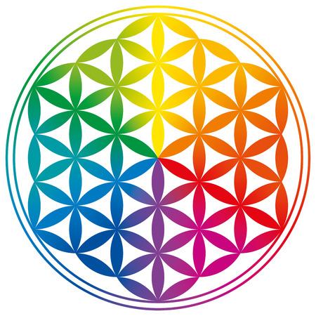flor: Flor de la Vida con gradientes de color arco iris. Círculos están formando un patrón similar a una flor. Un símbolo espiritual desde la antigüedad y la Geometría Sagrada.