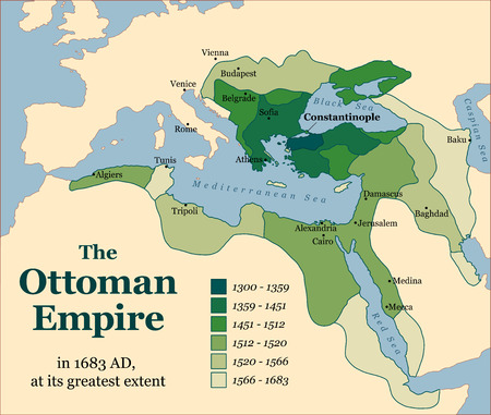 extent: The Ottoman Empire at its greatest extent in 1683. Vector illustration.