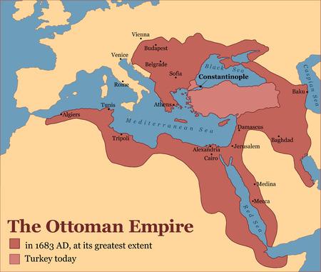 El Imperio Otomano en su mayor extensión en 1683, y Turquía hoy. Ilustración del vector. Ilustración de vector