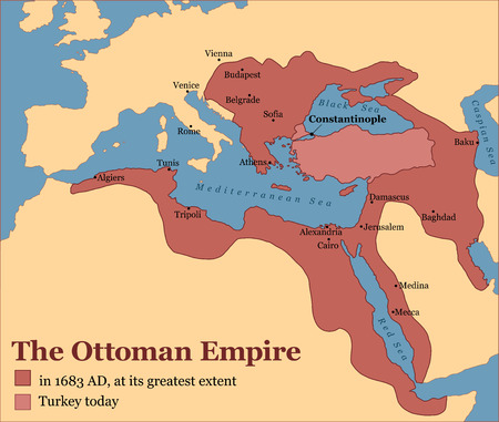 extent: The Ottoman Empire at its greatest extent in 1683, and Turkey today. Vector illustration.