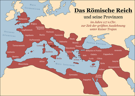 extent: The Roman Empire at its greatest extent in 117 AD at the time of Trajan, plus principal provinces. German labeling! Vector illustration.