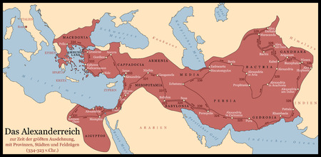 conquest: The Empire of Alexander the Great an his conquest course from Greece to India to Babylon in 334-323 B.C. with towns, provinces and year dates. German labeling! Isolated vector illustration.
