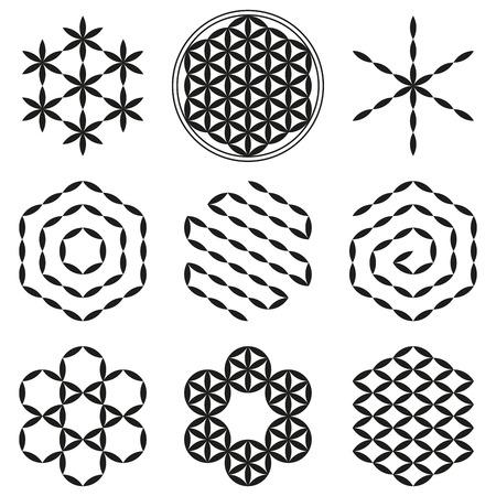 Acht gewonnen patronen uit de Flower of Life, een spiritueel symbool en de Heilige Geometrie sinds de oudheid.
