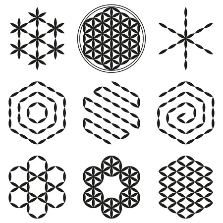 Eight extracted patterns from the Flower of Life, a spiritual symbol and Sacred Geometry since ancient times. 版權商用圖片 - 34640165