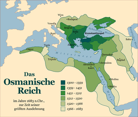 extent: The Ottoman Empire at its greatest extent in 1683. German labeling! Vector illustration. Illustration