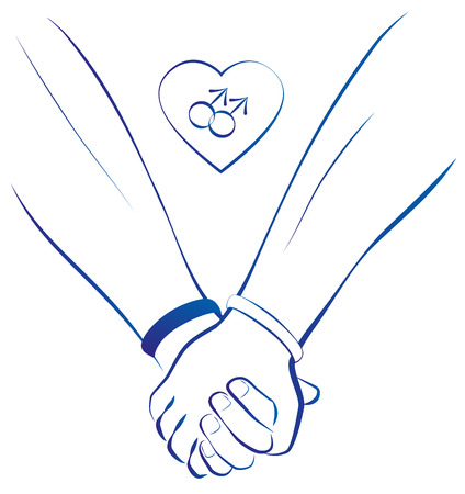 gay couple: Blue outline illustration of two gays holding hands, plus a heart with two male symbols in it. Isolated vector on white background. Illustration