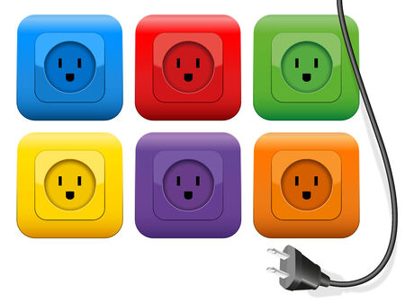 electrically: Connector plug which has plenty of choice of colorful sockets. Isolated vector illustration on white background. Illustration