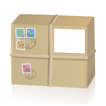 Parcel tied with a cord, with four post stamps and a white sheet to be labeled. Isolated vector illustration on white background. Vettoriali
