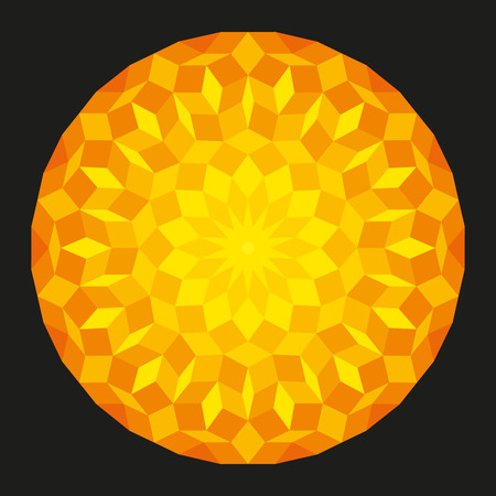spiritually: Sun from a Penrose Pattern on black background, a specific geometric figure in mathematics, on black background. Non-periodic tiling generated by an aperiodic set of prototiles.