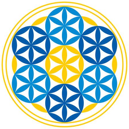 Blume des Lebens mit Kugeln. Sieben Kugeln mit Blütenblätter in der Blume des Lebens, ein spirituelles Symbol und Heilige Geometrie seit der Antike zu finden. Standard-Bild - 34909292