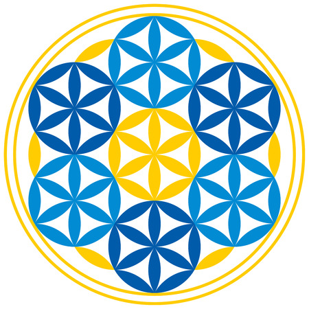 Flower of Life With Spheres. Seven spheres with petals can be found in the Flower of Life, a spiritual symbol and Sacred Geometry since ancient times.
