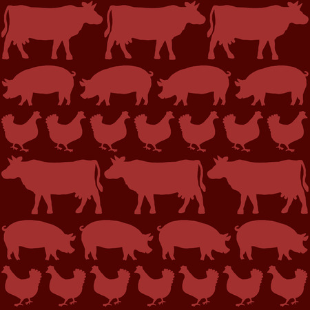 slaughter: Beef, pork and chicken depicted with the silhouettes of cows, pigs and hens on a blood red background. Isolated vector illustration.