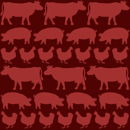 Boeuf, porc et poulet représentés avec les silhouettes de vaches, cochons et poules sur un fond rouge sang. Isolated illustration vectorielle.