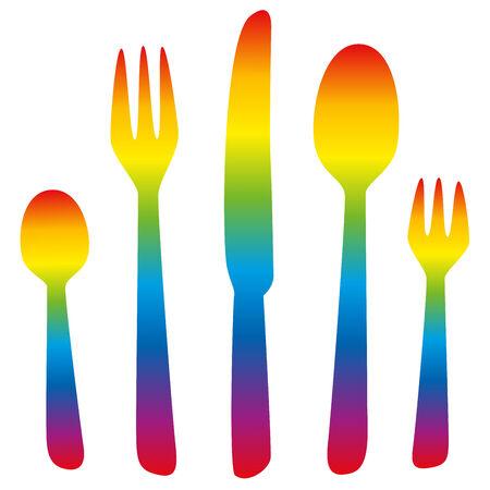 balanced: Cutlery - teaspoon, fork, knife, spoon and dessert fork - rainbow colors. Isolated vector illustration on white background.