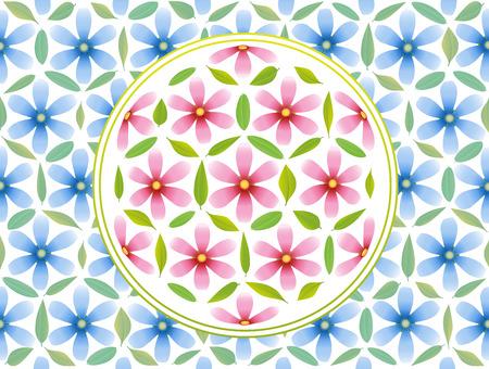 golden daisy: Flor del s�mbolo de la vida - compuesta de flores de color rosa y hojas verdes y flores de color azul en el fondo