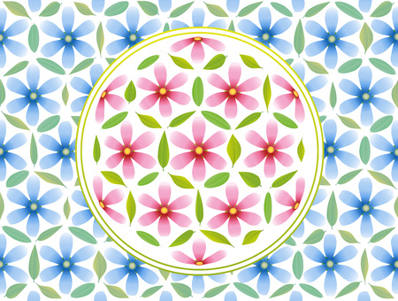 golden daisy: Flower of life symbol - composed of pink flowers and green leaves and blue flowers in the background
