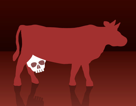 A cow with a skull instead of an udder, as a symbol for health problems concerning the consumption of milk and dairy products Illustration