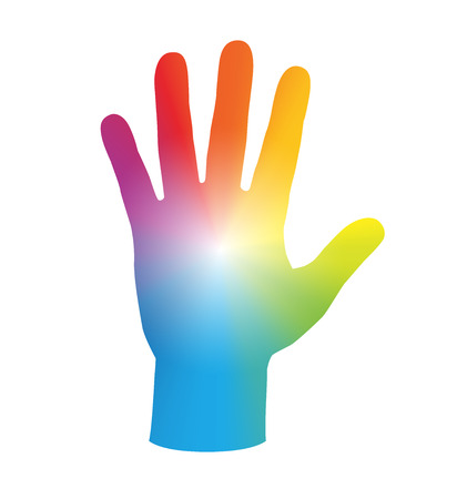 healing touch: Palm of the hand - rainbow gradient colored. Isolated illustration on white background.