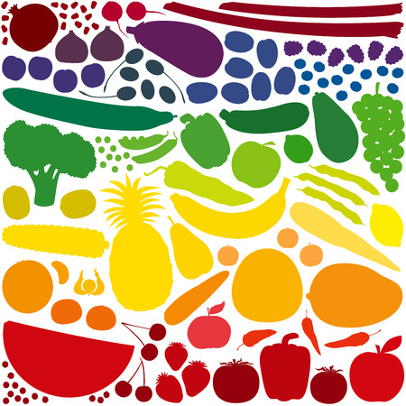 fruits and vegetables: The most loved fruits and vegetables generate a marvelous rainbow color gradient with their naturally hues.  Illustration