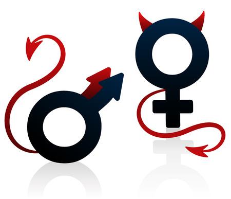 cola mujer: Bad girl y malo de la película imaginaron como el símbolo femenino y masculino con devils colas y cuernos. Ilustración vectorial aislados en fondo blanco.