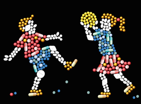 Pills, tablets and capsules, that shape the silhouettes of two children playing with a ball - conceptual symbol for medicine related issues. Isolated vector illustration on black background.