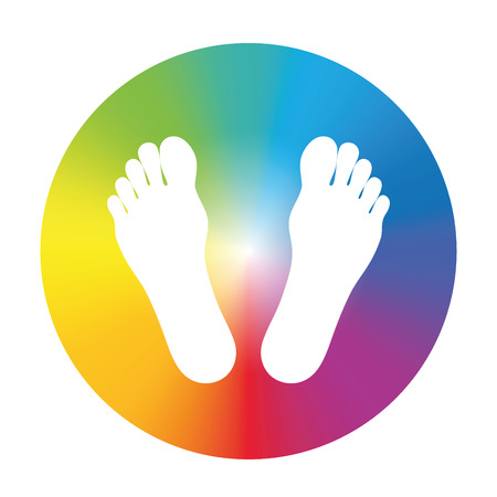 energy healing: Feet in a rainbow colored wheel, to write your text in it, or as a symbol for health and wellbeing. Isolated vector illustration on white background. Illustration