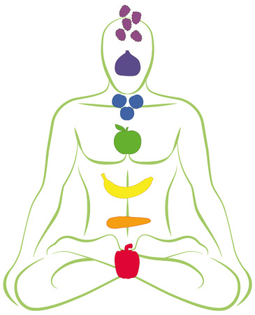 energy healing: Meditating man with fruits and vegetables instead of his seven body chakras. Isolated vector illustration over white background. Illustration