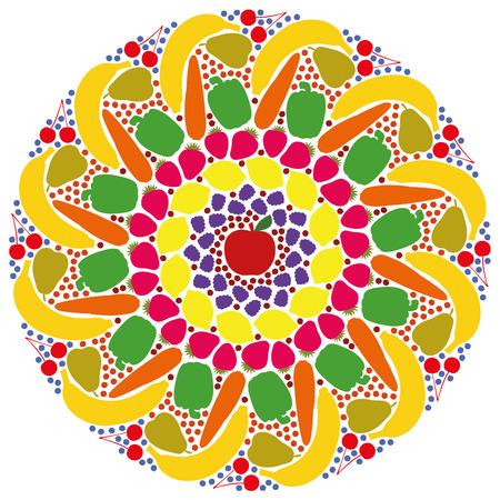 gateau: Mandala di frutta e verdura colorate. Illustrazione vettoriale isolato su sfondo bianco.