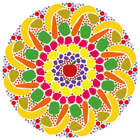 gateau: Mandala out of colorful fruits and vegetables. Isolated vector illustration on white background.