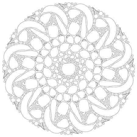 gateau: Fruits and vegetables mandala that can be colored. Isolated vector illustration on white background.