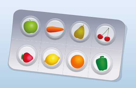 blister: Pills that look like fruits and vegetables in a blister pack. Vector illustration on blue gradient background. Illustration
