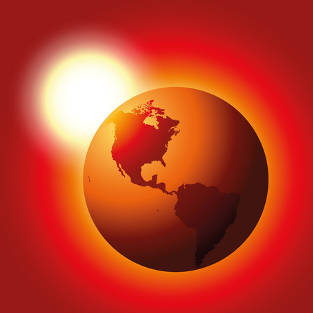 Red glowing planet earth with heating white sun in the background - symbol for global warming. Ilustração