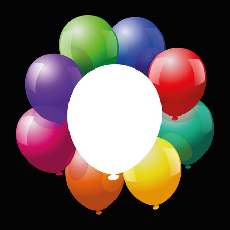 fete: Colorful glossy balloons form a frame around a white one, that can be labeled. Vector illustration on black background. Illustration