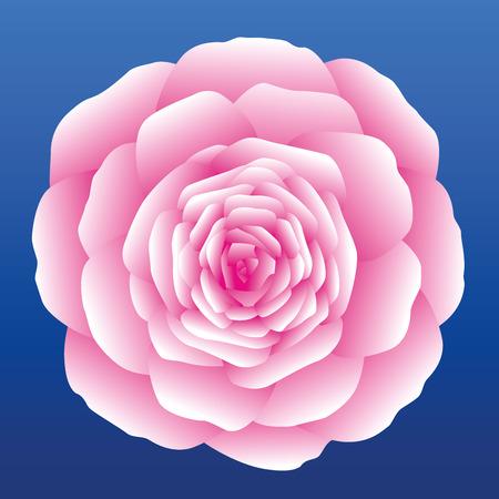 Pink carnation, rose or marigold on blue sky background. Isolated vector illustration.