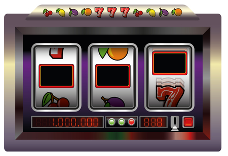 slot in: Slot machine with three blank reels to insert your text, company  or picture in. Isolated vector illustration on white background.