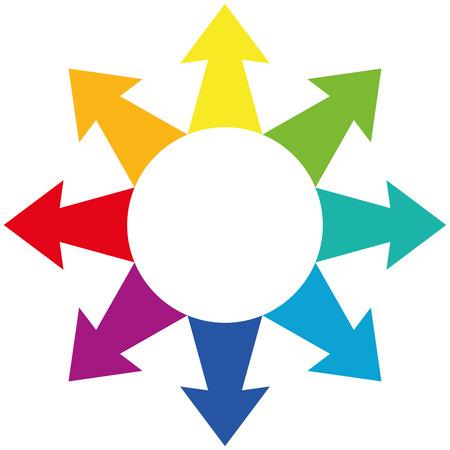 flecha direccion: Arco iris de colores flechas centr�fugas que muestran hacia el exterior. Vectores