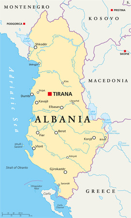albania: Albania Political Map with capital Tirana, national borders, important cities, rivers and lakes. English labeling and scaling.