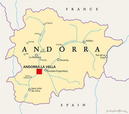 Andorra Political Map With Capital Andorra La Vella And Neighbors