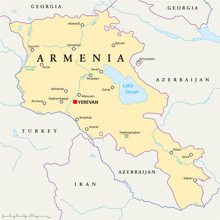 Armenia Political Map with capital Yerevan, national borders, important cities, rivers and lakes. English labeling and scaling.