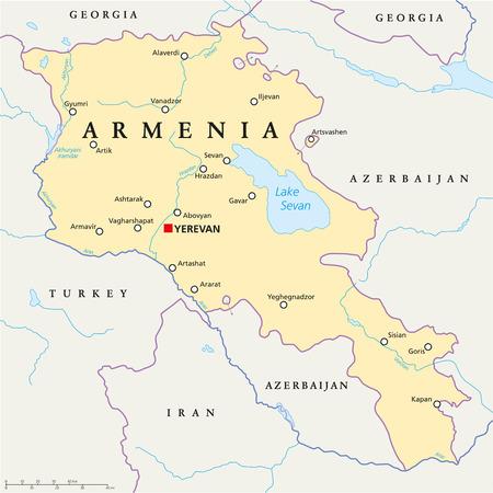 mapa politico: Armenia Mapa pol�tico con los de capital Erev�n, fronteras nacionales, ciudades importantes, r�os y lagos. Etiquetado y escalado Ingl�s. Vectores