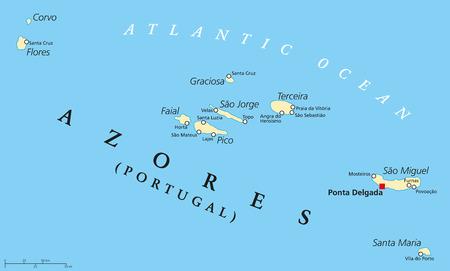 아 조레스 군도 행정 구역 수도 Ponta Delgada와 정치지도. 9 개의 화산섬으로 이루어진 포르투갈의 자치 지역. 영어 라벨링 및 스케일링.