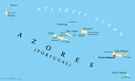 Azores Political Map with administrative capital Ponta Delgada. Autonomous region of Portugal composed of nine volcanic islands. English labeling and scaling.