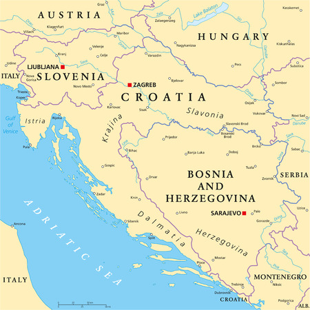 coastline: West Balkan Political Map formed by Slovenia, Croatia and Bosnia And Herzegovina. With national borders, important cities, rivers and lakes. English labeling and scaling.