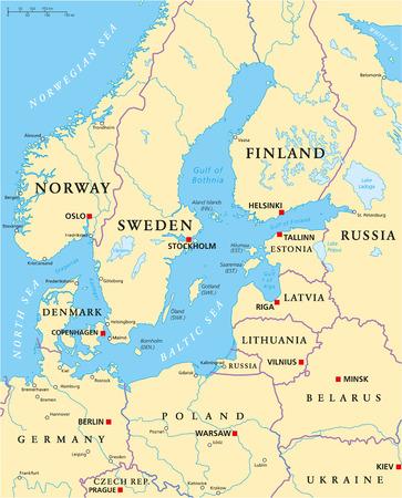 mapa politico: Zona del mar B�ltico Mapa pol�tico con may�sculas, de las fronteras nacionales, ciudades importantes, r�os y lagos. Etiquetado y escalado Ingl�s. Ilustraci�n.