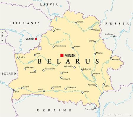 mapa politico: Bielorrusia Mapa pol�tico con capital, Minsk, de las fronteras nacionales, ciudades importantes, r�os y lagos
