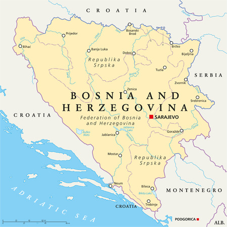 bosnia: Bosnia and Herzegovina Political Map with capital Sarajevo, national borders, important cities, rivers and lakes Illustration