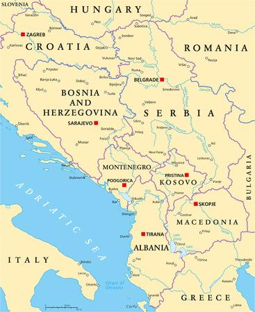 mapa politico: Balcanes Centrales Mapa Pol�tico formado por Bosnia y Herzegovina, Serbia, Montenegro, Kosovo, Albania y Macedonia. Con may�sculas, de las fronteras nacionales, ciudades importantes, r�os y lagos. Etiquetado y escalado Ingl�s.