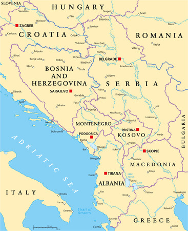 Central Balkan Political Map formed by Bosnia and Herzegovina, Serbia, Montenegro, Kosovo, Albania and Macedonia. With capitals, national borders, important cities, rivers and lakes. English labeling and scaling.