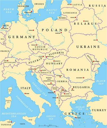 deutschland karte: Mitteleuropa Politische Karte mit Kapitellen, die nationalen Grenzen, Fl�sse und Seen. Englisch Kennzeichnung und Skalierung. Illustration. Illustration